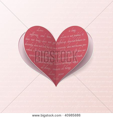 Greeting card with paper heart