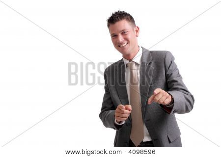 Young, Handsome Businessman Pointing Forward