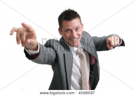 Young Handsome Businessman Pointing Forward