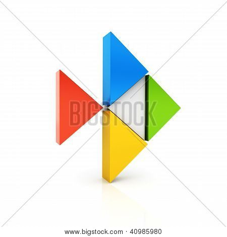 Abstract Color Metallic Symbol With Fish Shape And Triangles.