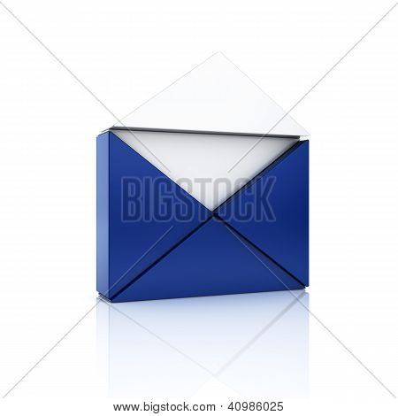 Abstract Blue Metallic Symbol With Open Envelope From Triangles.