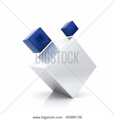 Abstract Blue Business Symbol With 3 Cubes