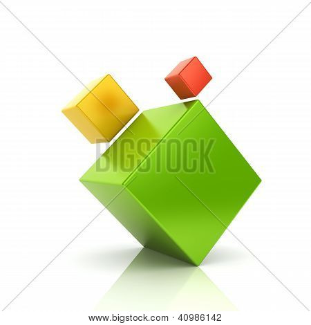 Abstract Color Business Symbol With 3 Cubes