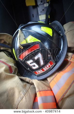 Firefighter Hat Helmet On Jacket