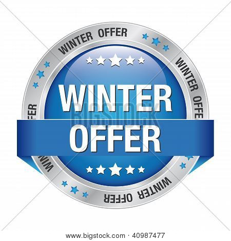 Winter Offer Button Blue Silver
