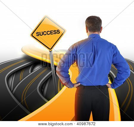 Decision Business Man Looking At Success Road