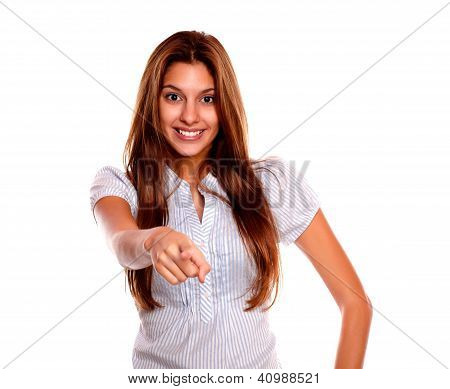 Smiling Young Woman Looking And Pointing At You