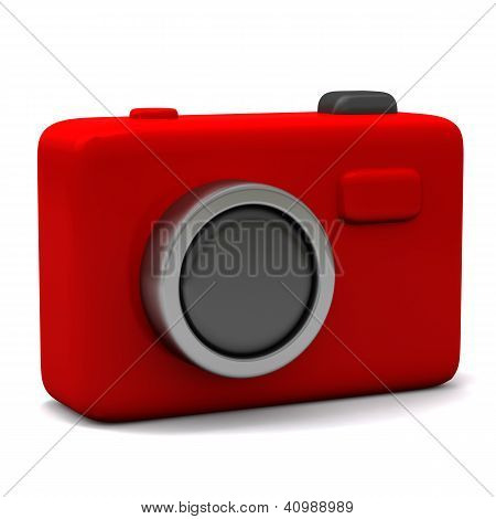 Red photo camera icon 3d