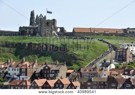Telephoto view of houses in Whitby, North Yorkshire.