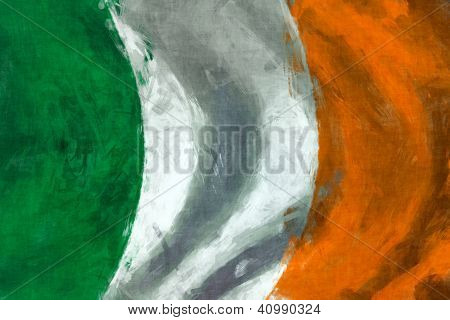 Flag Of Ireland Abstract Digital Painting Background