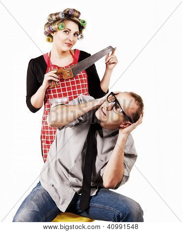 Defaulter Husband And Wife With Hacksaw
