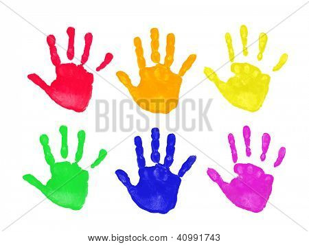 Set of colorful hand prints in rainbow order isolated on white background