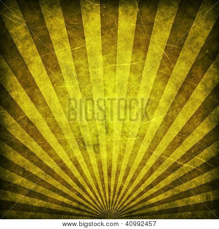 Yellow grunge sunbeams background or texture