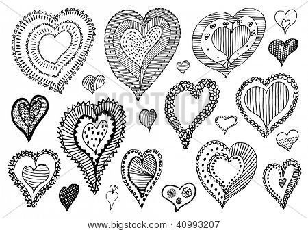 collection of hand drawn valentine hearts