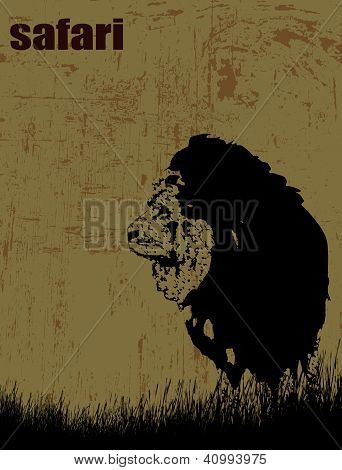 Lion Silhouette On Grunge Background