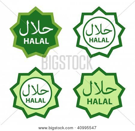 Halal food product labels.