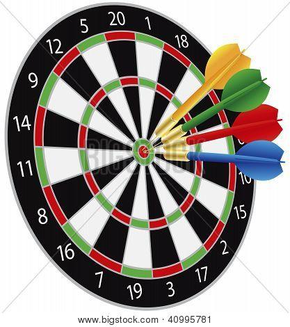 Dartboard With Darts Hitting The Bullseye