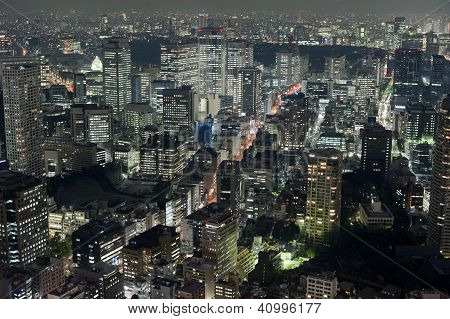 View Of Tokyo Buildings At Night