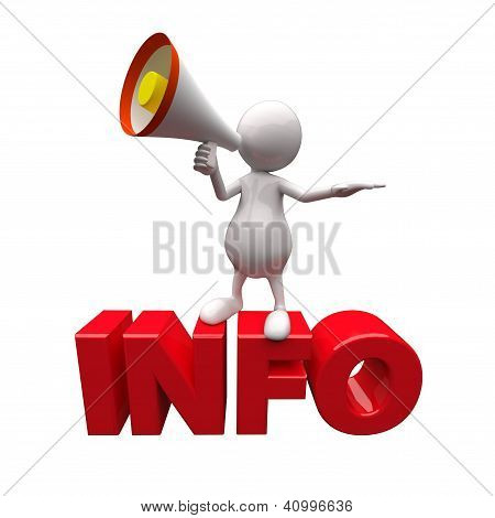 3D People With Megaphone And Word Info