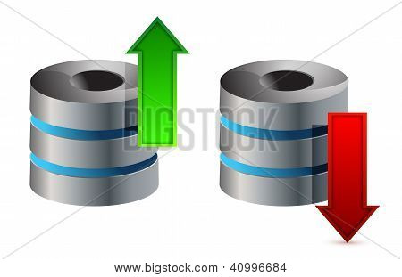 Computer Database With Upload And Download Arrows