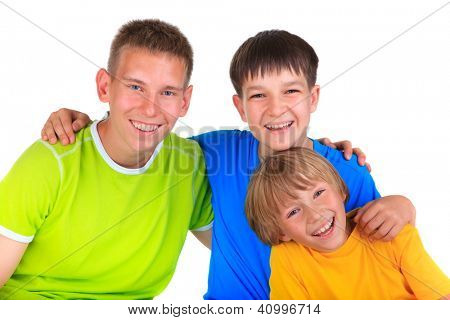 Happy young brohers
