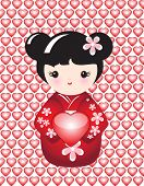 Kokeshi holding a glossy heart against background of glossy hearts. EPS10 vector format