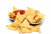 tortilla nachos with spicy sauce on a white background poster
