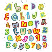 foto of grammar  - Hand drawn Trendy Font in Colors on White background - JPG