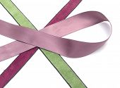 picture of rayon  - Three crossed pink green and purpur bands of rayon - JPG