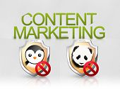 stock photo of panda  - An illustration about content marketing and panda and penguin algorithms - JPG