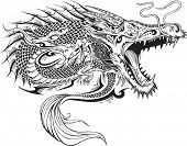 stock photo of monster symbol  - Dragon Doodle Sketch Tattoo Vector - JPG