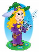 stock photo of lyre-flower  - Cute witch with small lyre  - JPG