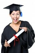 image of school-leaver  - Graduating student in academic black gown and square cap with the diploma - JPG