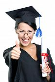 picture of school-leaver  - Graduating student with the certificate and in the black academic gown thumbs up - JPG