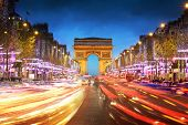 image of arch  - Arc de triomphe Paris city at sunset  - JPG