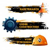 stock photo of reconstruction  - illustration of under construction banner with hard hat and cone - JPG