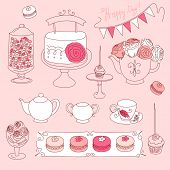 image of girlie  - Happy Valentines Day set with bunting - JPG