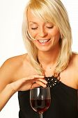 picture of matron  - blond girl with glass of wine close up - JPG