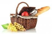 image of thermos  - Picnic basket with fruits - JPG