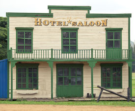 pic of gunfights  - Saloon and hotel in Wild West style - JPG