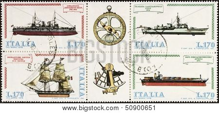 ITALY �¢?? CIRCA 1978: a block of four stamps printed in Italy shows illustrations of  four ships and old sextant and compass old sextant. Italy, circa 1978