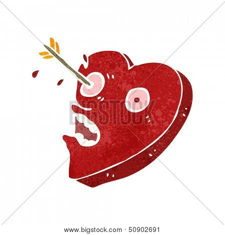 retro cartoon heart struck by arrow