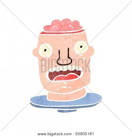 retro cartoon man with exposed brain