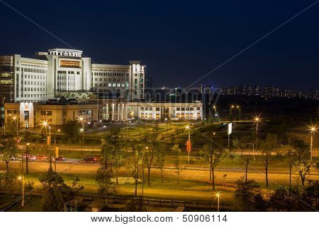MOSCOW - MAY 13: Evening view of the new building of Moscow State University named after Lomonosov on May 13, 2013 in Moscow, Russia.