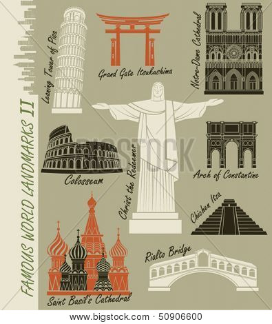 Famous World Landmarks - Set of world landmarks, including the famous Rio de Janeiro statue of Christ the Redeemer, Notre Dame Cathedral,  Colosseum and St. Basil's Cathedral in Moscow