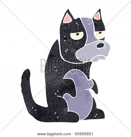retro cartoon grumpy dog