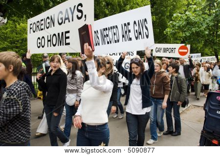 Protestors Against Riga Pride 2009