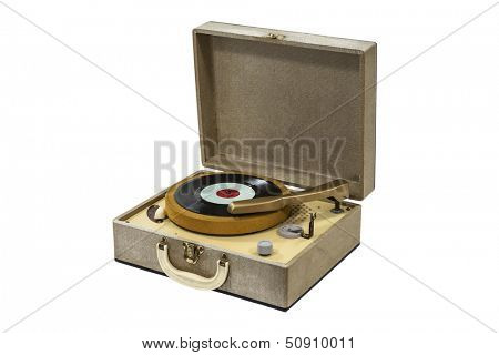 Little retro record player isolated with clipping path.