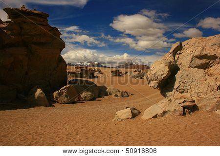 Dusty road between rocks