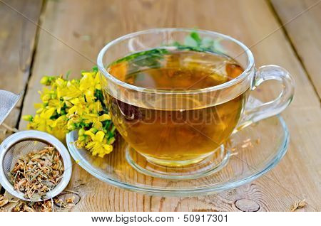 Herbal Tea From Tutsan In Strainer With Cup